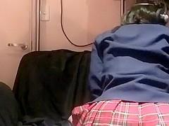 Schoolgirl crossdresser anal closeup