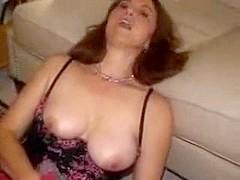 Housewife mamma jackie masturbates with face full of cum