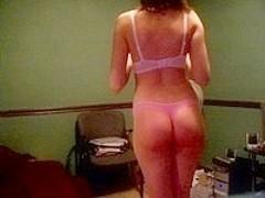 horny MILF stripteasing for camera