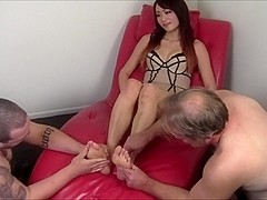 two white slaves worshipping Asian