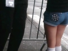 two candid short and pantyhose