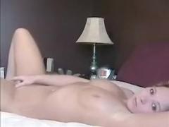 Adorable blonde masturbates
