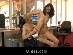 Crusty grandpa boss fucks his 20 yo as###tant