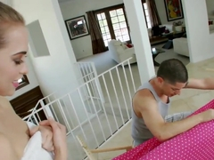 High-class girl Riley Reid having a massage done in her room