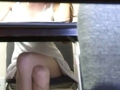 Test taking blonde hottie filmed by an upskirt voyeur