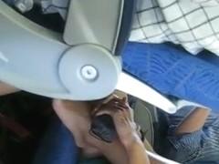 Sitting ass up skirt hidden cam shot of a girl on the bus