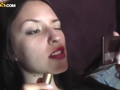 Hot brunette Aurita shows her amazing sex toys