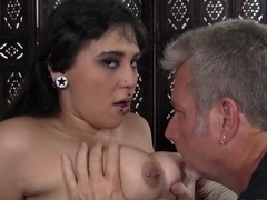 Fat 'n' pierced Sara Suicide gets her twat rammed