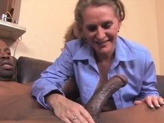 Mature Sara James takes on black pecker