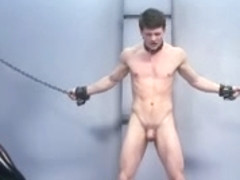 BDSM bondage gay boy is whipped fucked and milked