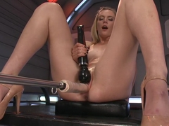 Exotic fetish, squirting adult video with crazy pornstars Mona Wales and Roxy Rox from Fuckingmach.