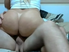 Hot blonde rides a big cock on webcam